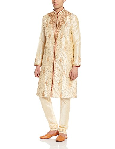 Manyavar Men's Silk Kurta Churidar (8903035207319_S952240-303-L_Beige)