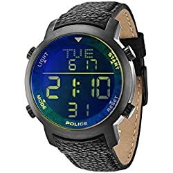 Police Men's Cyber Digital Watch with LCD Dial Digital Display and Black Leather Strap 12898JSU/02C