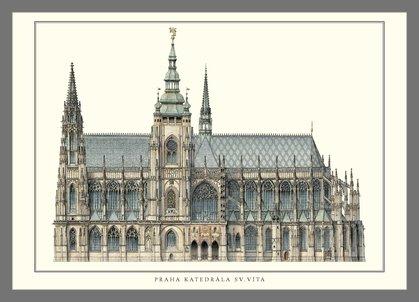 Germanposters Peter Parler Prag Katedrale Sv.Vita Poster Kunstdruck Bild im Alu Rahmen in Champagne...