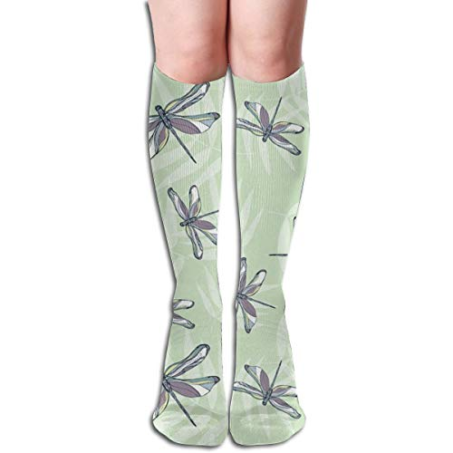 Bamboo Grove Soft Green and Grey Comfort Kompressionsstrümpfe für Damen & Herren - Kniehohe Unterstützung Socken für Laufen, Reisen, Radfahren, Schwangere und Ödeme -
