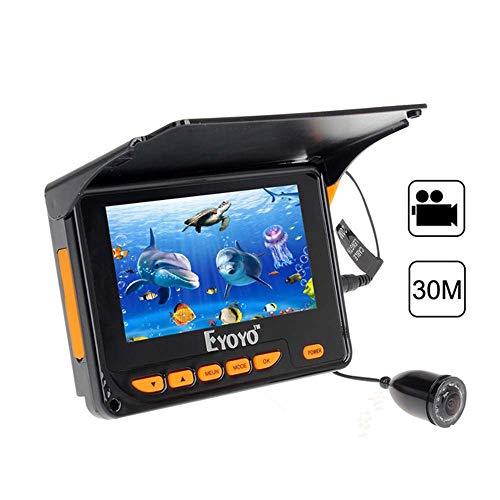 JSX Portable 4,3 Zoll LCD-Monitor Fischfinder, 30M HD Unterwasserfischen Kamera DVR Video 1000TVL für EIS, See und Boot Angeln -