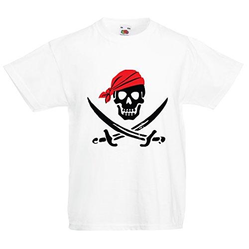 Kids Caribbean Sea Bekleidung (Kinder T-Shirt Totenkopf und Gekreuzte Knochen)
