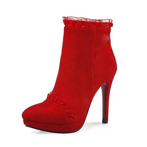 VogueZone009 Donna Alla Caviglia Cerniera Pelle Di Mucca Tacco Alto Scarpe A Punta Stivali Rosso