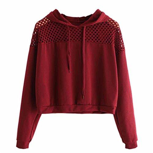 Moonuy Neue Art-Dame Hoodies, Frauen Herbst/Winter Hoodie Sweatshirt Pullover Pullover lose Crop Top elegante Pullover Freizeit rot Sweatshirt (M, Rot)