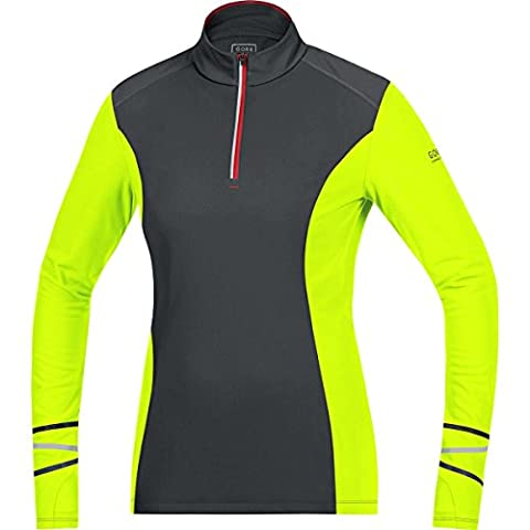 GORE RUNNING WEAR Damen Warmer Thermo-Langarm-Lauf-Jersey, GORE Selected Fabrics, MYTHOS LADY 2.0 Thermo Shirt long, Größe 38, Schwarz/Neongelb, SMYTTL