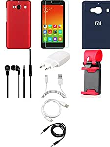 NIROSHA Tempered Glass Screen Guard Cover Case Charger Headphone USB Cable Mobile Holder for Xiaomi Redmi 2s - Combo