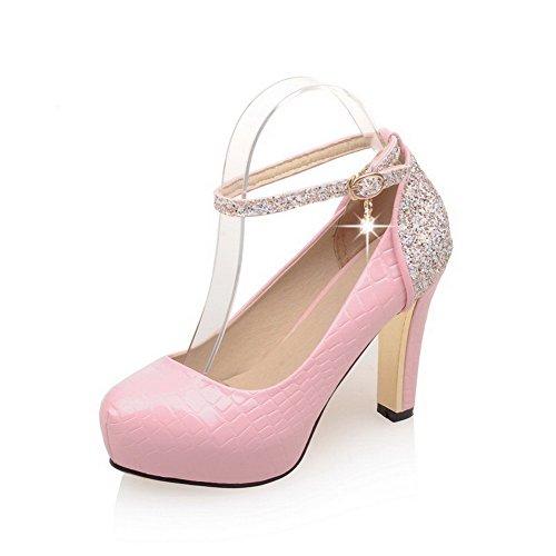 AgooLar Damen Schnalle Pu Leder Rund Zehe Hoher Absatz Rein Pumps Schuhe Pink