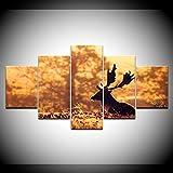 INFANDW Leinwanddruck 5 Panel Leinwand Art Waldwunderland-Tierrotwild für Home Wohnzimmer Büro Trendig Eingerichtet Dekoration Geschenk (Rahmenlos) 200 x 100 cm