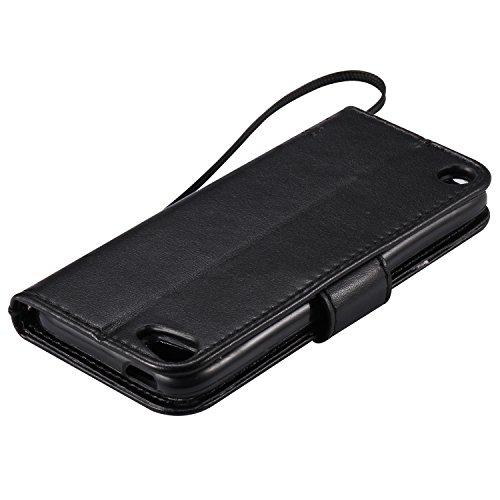 Coque pour iPhone 7 Plus,Housse en cuir pour iPhone 7 Plus,Ecoway Arbre à chat motif papillon de gaufrage étui en cuir PU Cuir Flip Magnétique Portefeuille Etui Housse de Protection Coque Étui Case Co black
