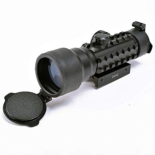 YODZ Military Tactical Airsoft 2X42 Lupe Dual Role Elcan Style Red Dot-Anblick-Bereich mit 4 MOA Mini Red Dot Rapid Range Absehen Zielfernrohr