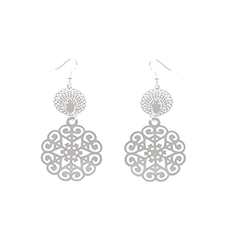 Round Earrings in Silver Metal Discs Etoiles Arabesques Filigree Hollow