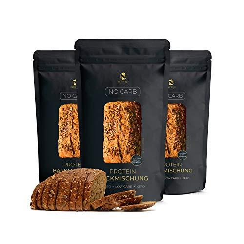 Mezcla para hornear pan de proteínas Sin Carb 3x200g. - 20% de contenido proteico | Sin carbohidratos | Sin cereales | Sin gluten | Para Paleo, Keto, Low Carb y desarrollo muscular | para diabéticos