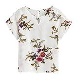iYmitz Sommer Damen Mode T-Shirts Blumendruck V-Ausschnitt Kurzarm Hemd Chiffon Tops Bluse Tank Tops Oberteil Heißer Sweatshirts Für Frauen Mädchen