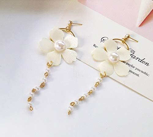 Kswlkj Orecchini con nappe di perle Orecchini a bottone con petali Moda Ragazza Temperamento Elegante Joker Orecchini semplici con fiori Donna Bianco