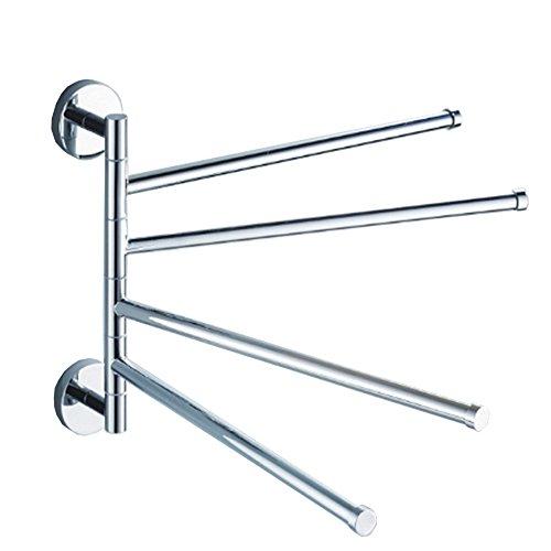 Portasciugamani da parete , girevole acciaio inox asciugamano cremagliera con 4 barre rotanti