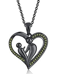 Silvernshine 18K Black Gold Over Peridot Sim Diamond Accent Mother & Child Heart Pendant Necklace