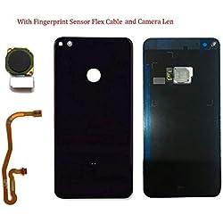 SOMEFUN Verre Cache Batterie Dos Façade Vitre Arrière Pièce De Rechange Huawei P8 Lite 2017 capteur d'empreinte Digitale Flex Câble + Objectif de caméra Noir
