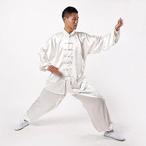 Andux tradicional Tai Chi Uniformes Kung Fu Ropa Unisex SS-TJF01 Blanco (M)