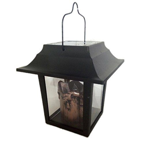 Preisvergleich Produktbild 2 Pcs Solar Laterne mit LED Kerze und täuschend echt wirkenden Flacker-Effekt,  von Festive Lights für Party,  Garten Wasserdicht IP65 Schwarz