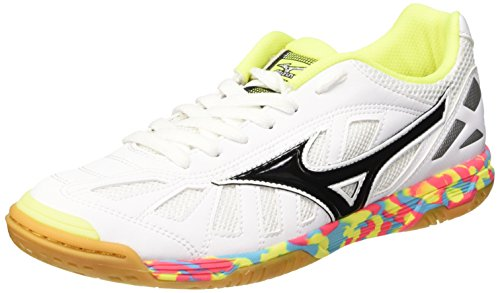 Mizuno Sala Premium In, Chaussures de Football Amricain Homme Bianco (White/Black/SafetyYellow)