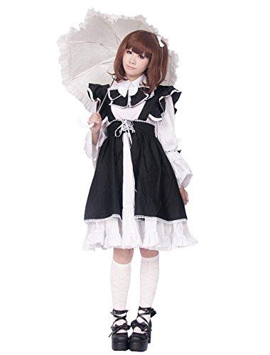 Antaina Schwarz und Weiß Baumwolle Rüsche Kimono süß Maid Knielang Elegant Lolita Cosplay ()