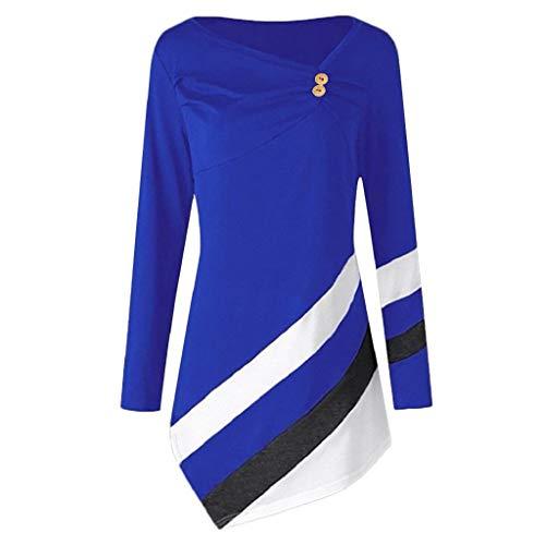 Sweatshirt Tops Damen T-Shirt Xjp Frauen Langarm Knöpfen Gestreift Asymmetrisch Hem Langer Abschnitt Oberteile Farbblock Lässige V-Ausschnitt Shirt Tunika Langarmshirt (S, Dunkelblau) -