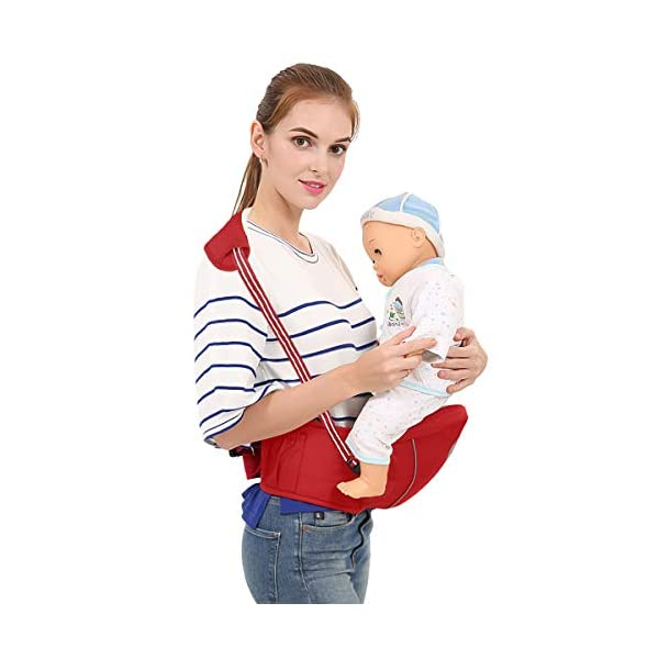 SONARIN Multifunctional Hipseat Baby Carrier,Free Size,Toddler Hip Seat Carrier,Front Carrier Belt,4 Carrying Positions,Adapted to Your Child's Growing,Ideal Gift(Red) SONARIN Applicable age and Weight:0-36 months of baby, the maximum load: 20KG, and adjustable the waist size can be up to 45.3 inches (about 115cm). Material:designers carefully selected comfortable and cool polyester fabric, light, tear-resistant, breathable,Inner pad : EPP Foam,safe and no deformation. Description:Sturdy buckle and inner soft padded ensuring baby safety and parent's comfort.It takes 1 second to put on.Nothing is more convenient.Side with small pockets, in order to store handkerchiefs, wallets and mobile phones and other small items. 2