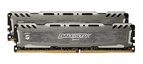 Ballistix Sport LT BLS2C4G4D240FSB/BLS2K4G4D240FSB Memoria da 8 GB Kit (4 GBx2), DDR4, 2400 MT/s, PC4-19200, Single Rank x8, DIMM, 288-Pin, Grigio