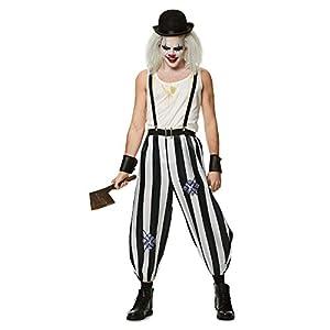 Karnival Costumes- Halloween Killer Clown Disfraz, Color blanco y negro, medium (84152)