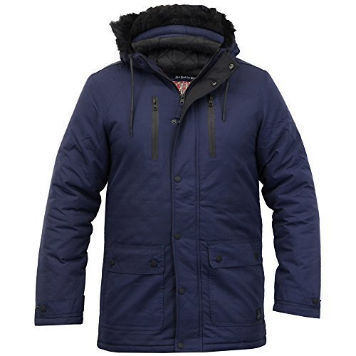 Herren Parka Jacke Tokyo Laundry Mantel Gesteppt Gepolstert Mit Kapuze Kunstpelz Winter Neu Mitternachts - 1J8125R
