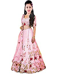 Clothes Shop Pink Color Heavy Flower Work Kids Girls Wedding Wear Semi Stitched Lehenga Choli_Suitable To 8-13 Years Girls