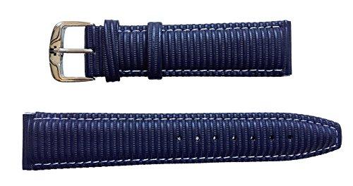 JACQUES LEMANS Uhrenarmband Leder Ripp nachtblau 20 mm