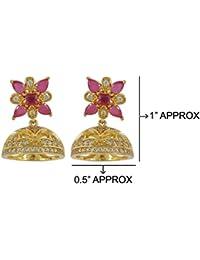 MUCH MORE Unique American Diamond Cz Fashion Jewellery Ruby Stone Traditional Jhumki For Womens