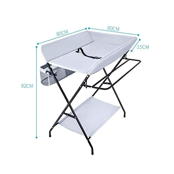 Folding Baby Changing Table for Small Spaces, Portable Nursery Infant Diaper Massage Station Dresser for Household Travel, Grey, 0-2 Years Old (color : B) AA-SS-Changing Table Stable Construction: Sturdy metal frame keep the table stable. While the other part is made of durable and wearable Oxford cloth. Folding: Easily fold it if you finish all the tasks! With its space saving design, you can store it behind a door. Large Storage Space: Equipped with 3 compartments aside the table, you can place soaps, towels and any other accessories conveniently. 2