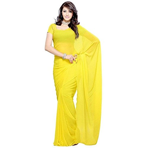 Jay Ambe Women's Yellow Color Plain Georgette Saree With Sparkel Blouse Piece.(Plain...