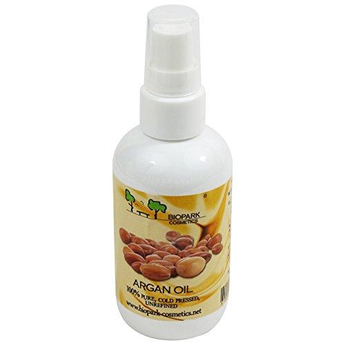BIOPARK - Huile d'Argan - Soin hydratant pour la peau sèche et mature et les cheveux fourchus - Propriétés anti-inflammatoire - Protège des radicaux libres - Nourrit les ongles cassants - 100 ml