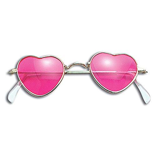 Süßes Paar Halloween Outfit Ideen - Bristol Novelty BA275 Herzförmige Brille, Rosa,