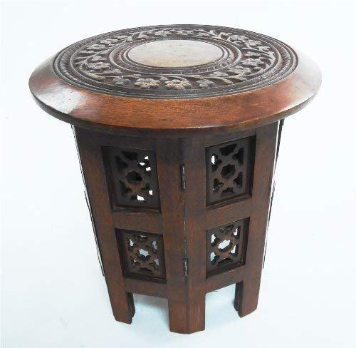 Hand Geschnitzten Couchtisch (Schöne Runde Braun Weiß Hand geschnitzte indische Sheesham Holz Couchtisch Side [Maghony, Große 18