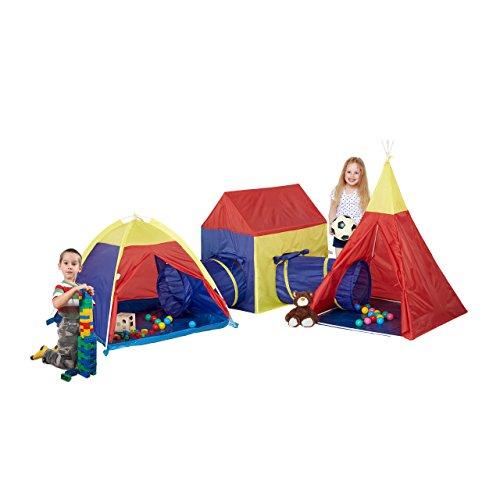 Relaxdays 10022474 tende gioco per bambini set xxl 5 pz indoor da giardino tenda indiana tunnel hxlxp 145 x 230 x 260 cm colorato