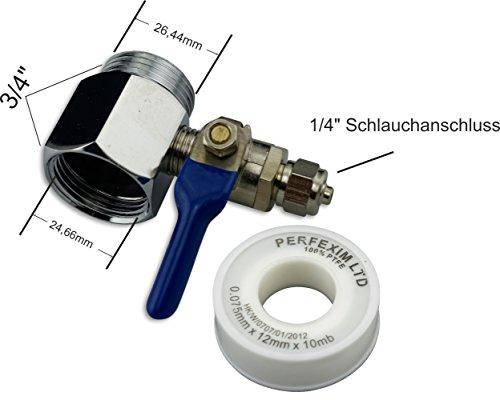 Preisvergleich Produktbild Set Absperrhahn Absperrventil 1/4 Zoll Schlauch (6mm) Wasserhahn + Adapter und Teflonband
