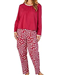 Slenderella Ladies 100% Cotton Floral Pyjamas Long Sleeve Top   Flower PJ  Bottoms (3 26ca3c477