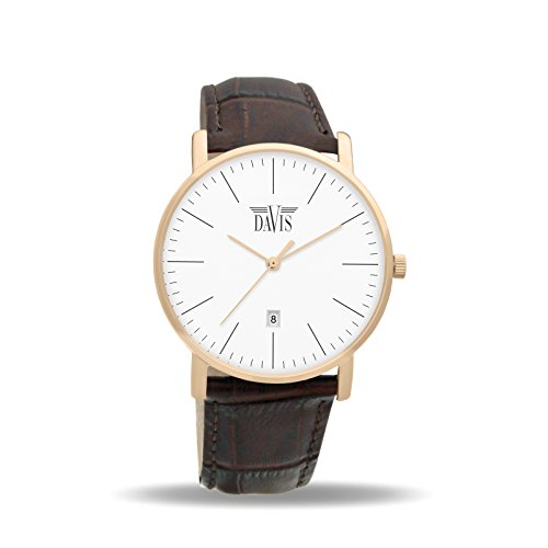 Davis 1992 - Mens Womens Design Watch Classic Rose Gold Ultra Thin Case White Dial Date Brown leather Strap
