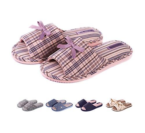 TWINS Fashion « Rimini » leichte Design Damen-Hausschuhe I Latschen I Schlappen I Pantoffeln I Slippers - 100{d7f652be9fa3d4b953c4da0c7671436543c6727e76ee55ced548aee1a8e51baf} Baumwolle rutschfest - Diverse Farben, Lila, 38/39 EU