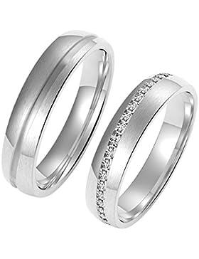 Amtier Paar-Ring Edelstahl-Ringe für Paar Eheringe Gravur Herrenring Damenringe 5mm mit Geschenkbox