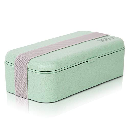 avoid waste Nachhaltige Lunchbox ♻ Die Premium Aufbewahrungsbox mit Deckel und Besteck im Bento-Box Stil mit Zwei Fächern. Biologisch abbaubar, plastikfrei, BPA frei, auslaufsicher - 3