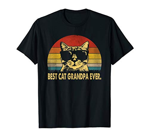 Best cat grandpa ever vintage t shirt father's day tee T-Shirt