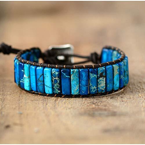 WODESHENGRI Armbänder,Unisex Böhmischen Armbänder Tube Natürliche Stonse Ledergriffband Armband Perlen Paare Armband Bestfriend Geschenke Armband (Paare Billig Für Easy-kostüme)