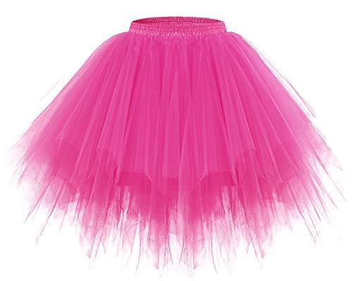Schrecklich Damen Kostüm - bridesmay Tutu Damenrock Tüllrock 50er Kurz Ballet Tanzkleid Unterkleid Cosplay Crinoline Petticoat für Rockabilly Kleid Fuchsia S