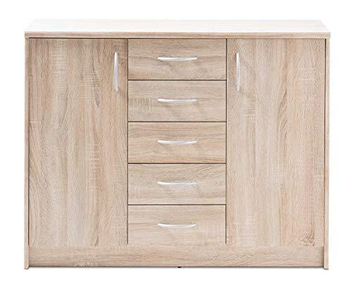 Kommode Sideboard Mehrzweckschrank EIDA 16 | Dekor | Eiche Sonoma | 2 Türen | 5 Schublade