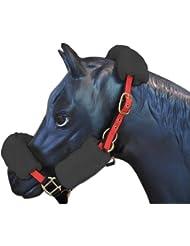 ENGEL GERMANY Conjunto de cabezada / cabestros caballo - protector de nariz, protector de cuello, protector de carrillos - gris anthracita (Set 4)